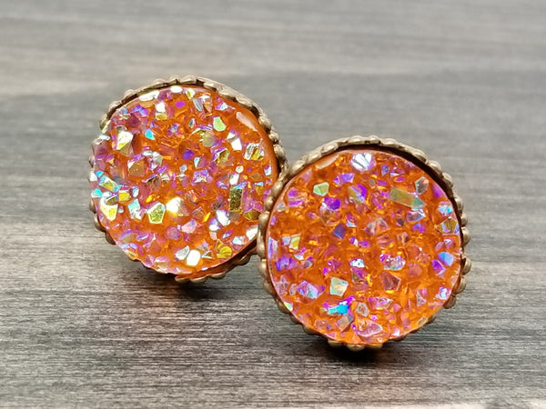 Ab red Orange faux druzy in Crown stud earrings (you pick setting tone)