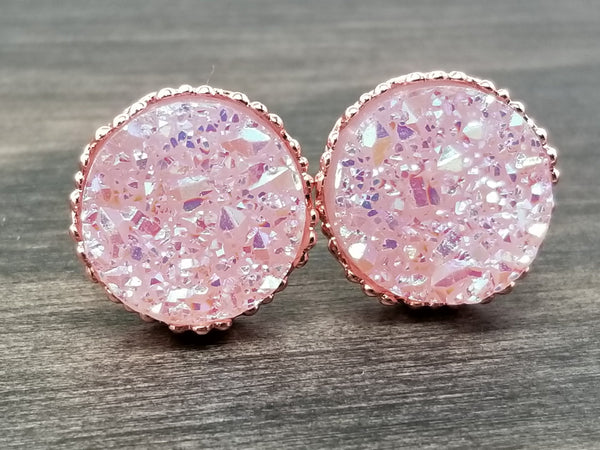 Ab Lilac faux druzy in Crown stud earrings (you pick setting tone)
