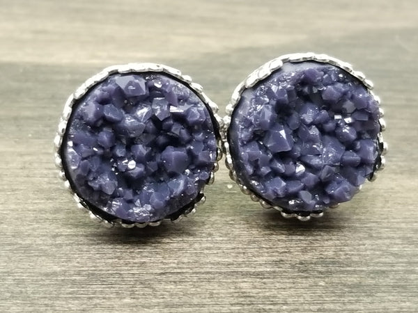 Purple navy faux druzy in Crown stud earrings (you pick setting tone)