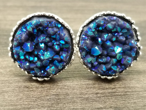 Ab Slate Blue faux druzy in Crown stud earrings (you pick setting tone)