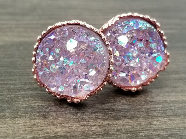 Ab Lavender faux druzy in Crown stud earrings (you pick setting tone)