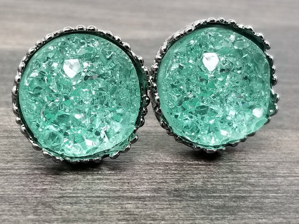 Crystal Mint faux druzy in Crown stud earrings (you pick setting tone)