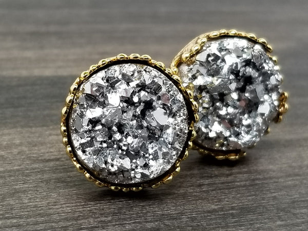 Silver faux druzy in Crown stud earrings (you pick setting tone)