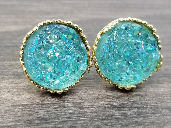 Ab Aqua mint faux druzy in Crown stud earrings (you pick setting tone)