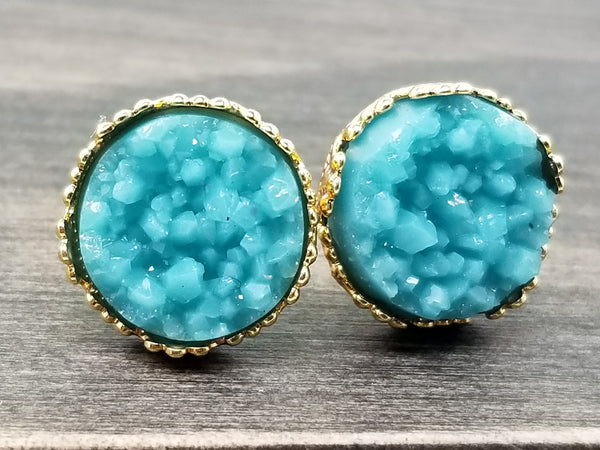 Teal faux druzy in Crown stud earrings (you pick setting tone)