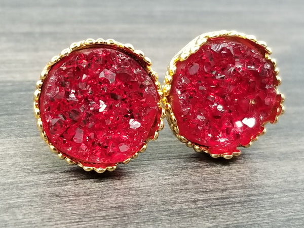 Crystal Red faux druzy in Crown stud earrings (you pick setting tone)