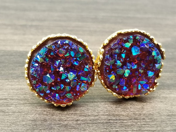 Ab Brown faux druzy in Crown stud earrings (you pick setting tone)