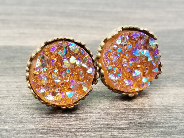 Ab autumn brown faux druzy in Crown stud earrings (you pick setting tone)