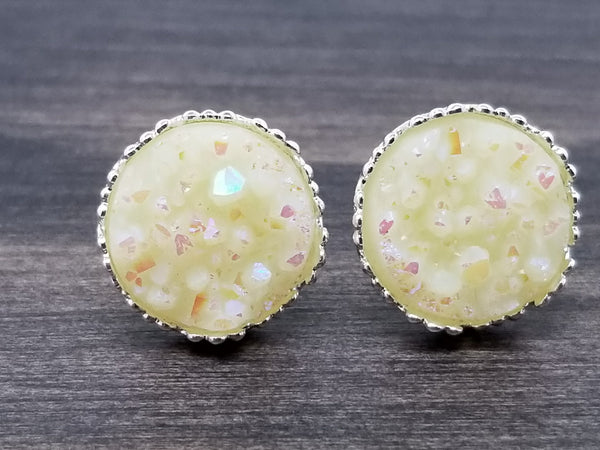 Ab ivory faux druzy in Crown stud earrings (you pick setting tone)