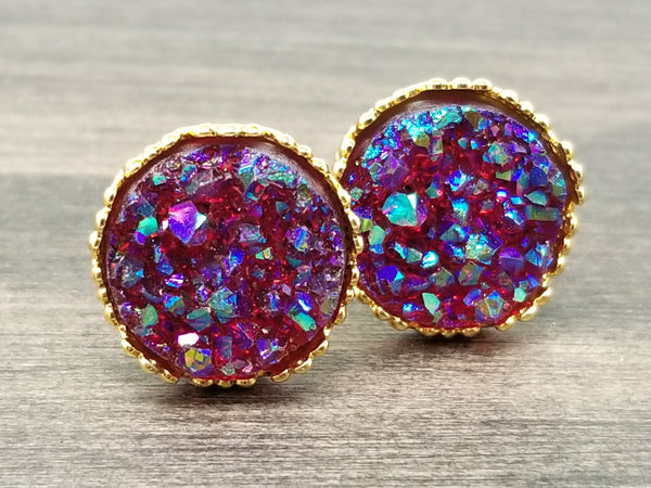 Ab maroon faux druzy in Crown stud earrings (you pick setting tone)