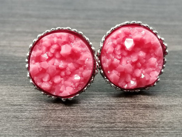 Berry Pink faux druzy in Crown stud earrings (you pick setting tone)
