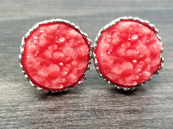 Coral Red faux druzy in Crown stud earrings (you pick setting tone)