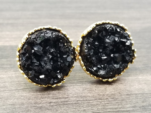 Black faux druzy in Crown stud earrings (you pick setting tone)