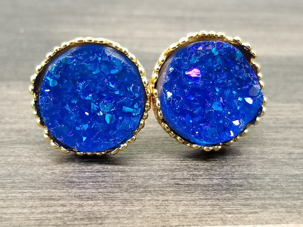 Ab blue faux druzy in Crown stud earrings (you pick setting tone)