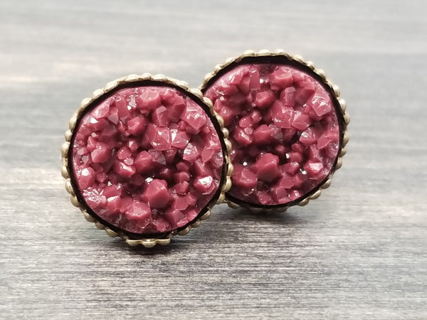 Maroon faux druzy in Crown stud earrings (you pick setting tone)