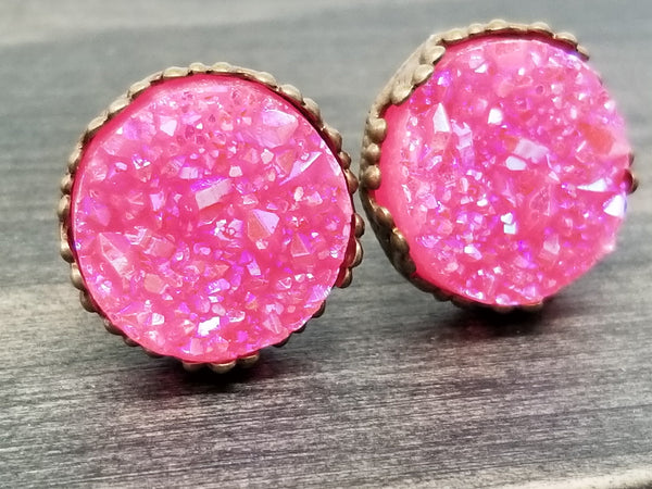 Ab hot pink faux druzy in Crown stud earrings (you pick setting tone)