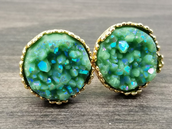 Ab Army green faux druzy in Crown stud earrings (you pick setting tone)