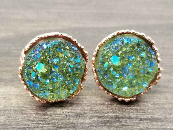 Ab Olive green faux druzy in Crown stud earrings (you pick setting tone)