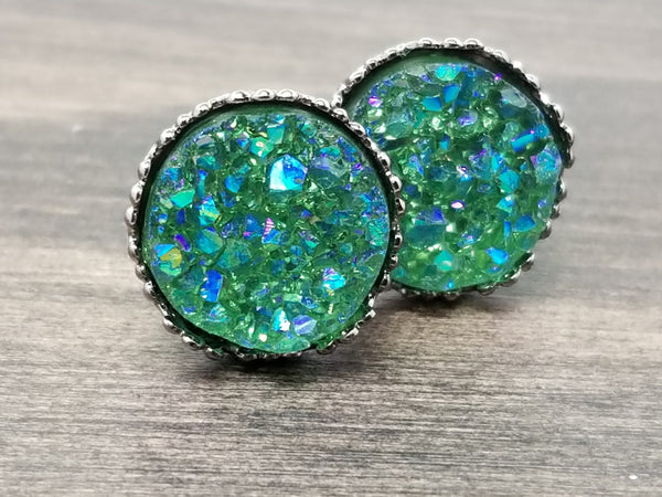 Ab Emerald green faux druzy in Crown stud earrings (you pick setting tone)