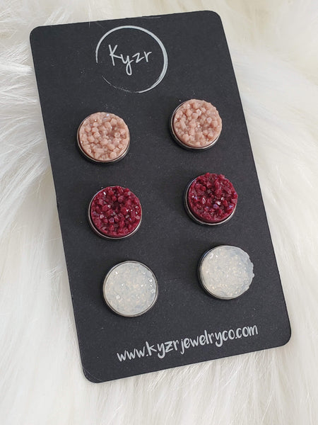 Druzy earring set- Almond and Plum drusy stud set - druzy earrings