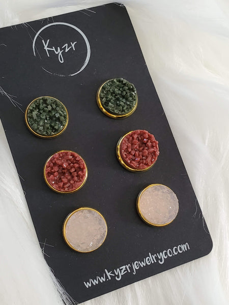 Druzy earring set- olive and Rust drusy stud set - druzy earrings