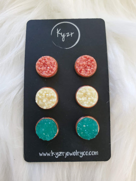 Druzy earring set- Coral, cream and Turquoise drusy stud set - druzy earrings