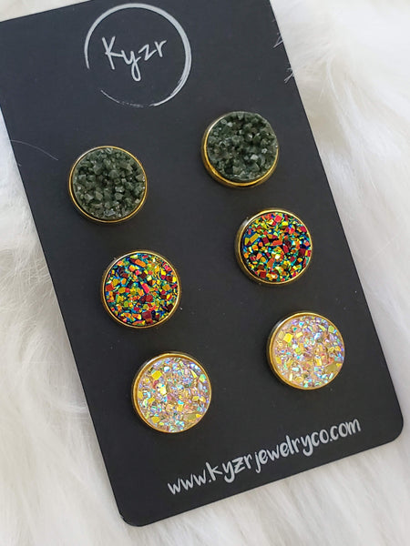 Druzy earring set-Olive and Green gold Champagne drusy stud set - druzy earrings
