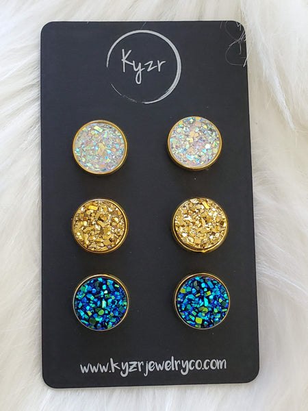 Druzy earring set-Ab clear, Gold and Blue green drusy stud set - druzy earrings