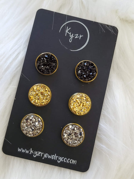 Druzy earring set- Black, Gold, and Gunmetal drusy stud set - druzy earrings