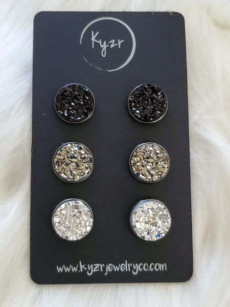 Druzy earring set- Black, Gunmetal, Silver drusy stud set - druzy earrings