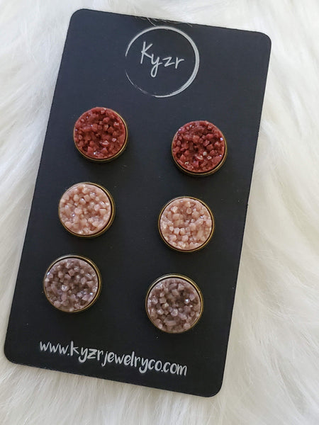 Druzy earring set- Rust, almond and taupe drusy stud set - druzy earrings
