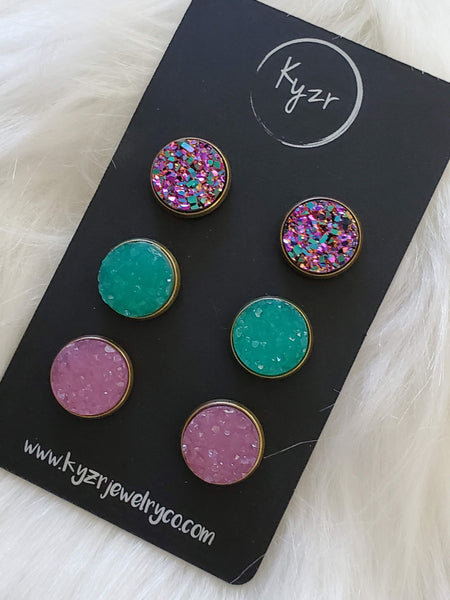 Druzy earring set- Mermaid drusy stud set - druzy earrings