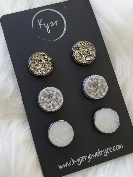 Druzy earring set- Gunmetal, grey and white drusy stud set - druzy earrings