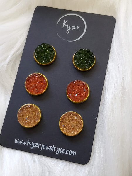 Druzy earring set- Autumn drusy stud set - druzy earrings