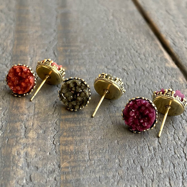 Rust, olive and plum 10mm crown stud earring set (you pick setting tone)
