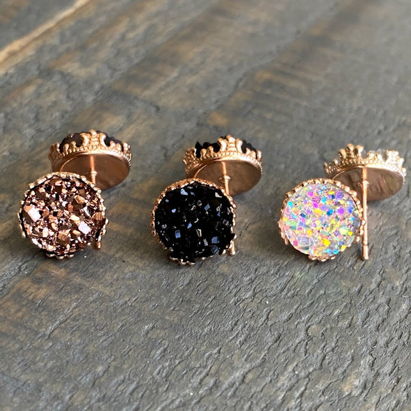 Rose gold, Rainbow clear, and Black 10mm crown stud earring set (you pick setting tone)