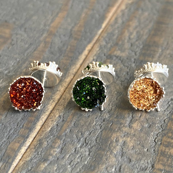 Mahogany, forest green, toasted marshmallow 10mm crown stud earring set (you pick setting tone)