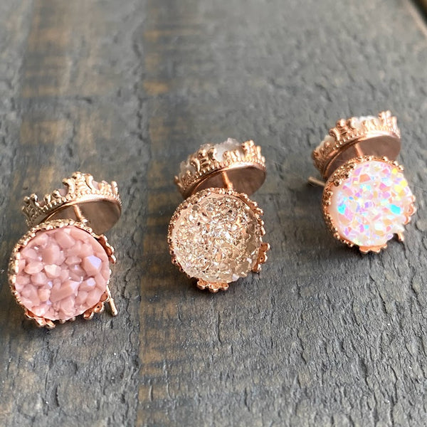 Dusty rose, light pink, and rainbow white 10mm crown stud earring set (you pick setting tone)