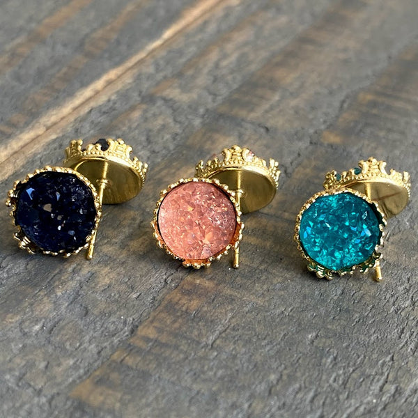 Navy, pink, and teal 10mm crown stud earring set (you pick setting tone)