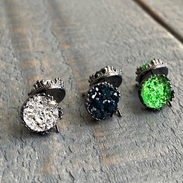 Silver, dark green, and green 10mm crown stud earring set (you pick setting tone)