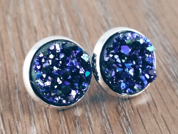 Druzy earrings-midnight blue purple teal silver tone stud druzy earrings