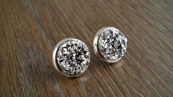 faux stud earrings druzy malalily mm large collections jewelry