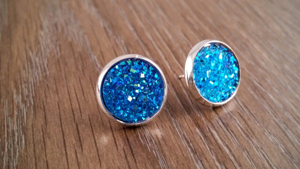 Druzy earrings- ab blue drusy silver tone stud druzy earrings