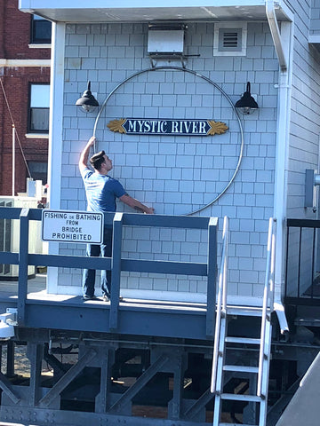 Mystic River Drawbridge Wreath stainless frame test fit