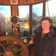 Maine Maritime Museum Bath Maine Jill at the helm