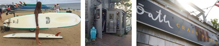 Banner - Nantucket: surfing, Four Winds gift shop, Oath pizza