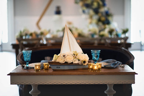 Nautical Wedding decorative table and sailboat at Sugar Valley by Ashley Fox Photography