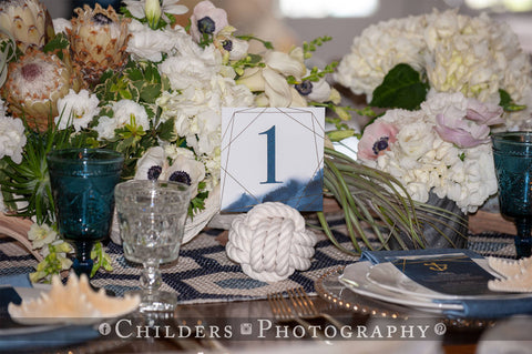 Nautical Wedding reception table and monkey fist knot at Sugar Valley OH Childers Photography