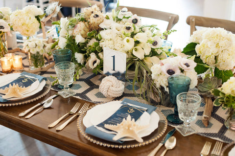 Nautical Wedding Reception Table at Sugar Valley Mark Garber Photography