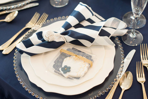 Nautical Wedding Reception Table Setting at Sugar Valley Mark Garber Photography